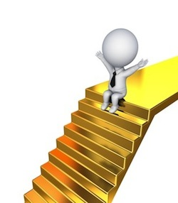 3d small person sitting on a golden stairs.